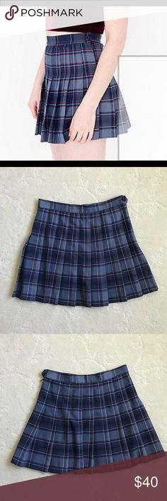 American Apparel Genevieve Plaid Tennis Skirt Bought this off of someone a while back. It never fit me. Perfectly good condition except I would say the pleats are not as crisp. There's also one mark on the front, which was there when I originally bought it. Size M! American Apparel Skirts Mini