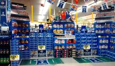 Football Field Display-- Using floor space and product storage to create a sales/kiosk space