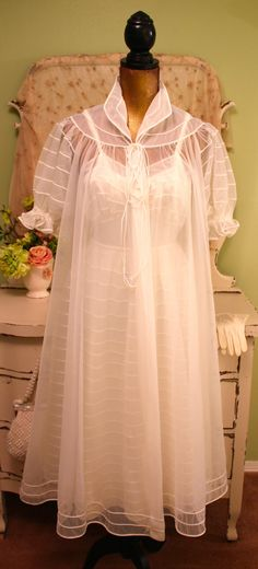 50s Lingerie White Vintage Nightie Night Gown Set by SownThreads