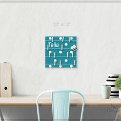A beautiful way to display your cards and memos and decorate any room. This display board can be hanged in a dorm, kids room, teens room, office, kitchen, family space and more. Personalization option. 10 design options. Hand painted canvas with wooden clothespins. #giftforher #Bulletinboard #cardsdisplay #tealdot #dotroom #polkadot #Tealroomdecor #giftforgirl #teensroom #officeorganizer #memoholder #homeorganizer #personalizedgift #giftforteens #freeshipping #christmasgift #hannukahgift Baby Room Art, Kids Room Art, Kids Room Design, Teal Room Decor, Navy Blue Decor, Bulletin Board Design, Bulletin Boards, New Baby Gifts, Gifts For Kids