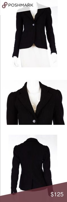 """L'Agence Distressed Wool Black Blazer Size  S Wool blend  Solid black color  Distressed raw trim  Single button closure 2 Pockets  Long sleeves 2 Button cuffs  Back vent  Fully lined  Condition: light pilling throughout, sparse lint throughout. (Second hand item-has been worn by previous owner).  Measurements  Length: 22"""" Chest: 34"""" Waist: 30""""                                100% Authenticity Guarantee L'AGENCE Jackets & Coats Blazers"""