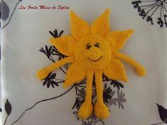Monsieur Soleil au crochet   Etsy Hand Crochet, Crochet Hats, Big Noses, Crochet Necklace, Sun, This Or That Questions, Pattern, Cotton, Free