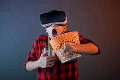 boy with vr headset and fast food