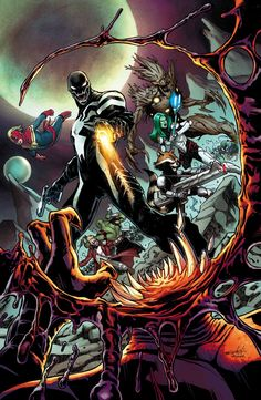 GUARDIANS OF THE GALAXY #22 BRIAN MICHAEL BENDIS (W) • VALERIO SCHITI (A/C) • Part Three of The Planet of the Symbiotes! Now that Venom has led the Guardians to this devastatingly dangerous planet of alien symbiotes, will the team ever trust Flash Thompson again? 32 PGS./Rated T …$3.99