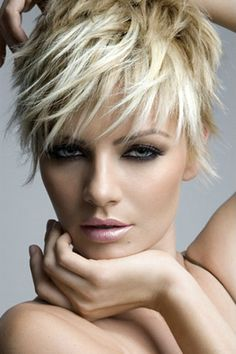Platinum Blonde Pixie Cut with Layers