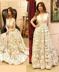 If you want to wear something unusual and breathtakingly beautiful then wear this beautiful Shilpa Shetty Nylon Mono Net Beige Embroidered Semi Stitched Gown,and Santoon Inner It Contained the work of fancy thread work. The Bollywood Gown can be customize Indian Anarkali Dresses, Salwar Dress, Salwar Kameez, Shadi Dresses, Anarkali Gown, Gown Dress, Salwar Suits, Bollywood Suits, Bollywood Fashion