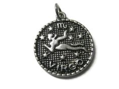 Virgo Charm Pendant Antique Silver - 1pc by 2MoonswithCharm on Etsy