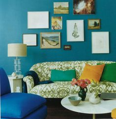 The dark blue, turqoise, green and yellow are closely placed on the color wheel. Together these analogous colors create a cool, formal space like in the picture above.