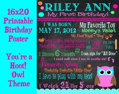 First Birthday Poster  You're a Hoot Owl by sweetharvestonline, $30.00