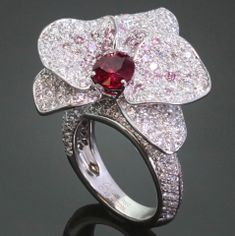 CARTIER Caresse DOrchidees White & Pink Diamond Ruby Ring GIA thumbnail 2