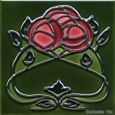 "5001 Mackintosh Glasgow Rose Flower; DuQuella Tile 4.25""($38.00) & 6"" ($48.00)"