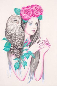 Big Cats Art, Art Mignon, Moon Drawing, Garden Illustration, Vintage T-shirts, Gcse Art, Animal Totems, Pencil Art Drawings, Owl Art