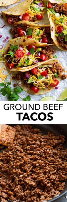 Ground Beef Tacos - these are made with a deliciously seasoned ground beef filling, served in corn tortillas and finished with all the best toppings. They're likely to become a go-to weeknight dinner. Vegetarian Recipes Dinner, Mexican Food Recipes, Ethnic Recipes, Quick Recipes, Cooking Recipes, Healthy Recipes, Meat Recipes, Delicious Recipes, Ground Beef Tacos