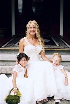 Adorable flower girls all dresses in white with the bride! {@benbphotos}