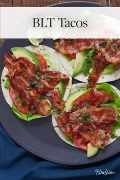 BLT Tacos via @PureWow via @PureWow - Everyone knows that bacon, lettuce and tomato is one of the greatest sandwich combinations ever. Here, we take that trifecta and roll it up into taco form.