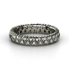 Cloaked in Hearts Band, Sterling Silver Ring with Diamond from Gemvara
