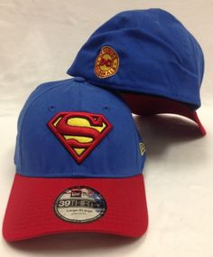 cf7d8cbf4ef91 New Era 39Thirty Superman Dyad Blue   Red Flexfit Hat Superhero Hats