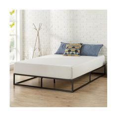 The sturdy 10-inch Platform Metal Bed Frame by Zinus is designed for strength and style. Perfect for high-profile mattresses or those preferring modern aesthetic. The extra-strength steel-framed mattress foundation features wooden slats that provide strong support for your memory foam, latex, or spring mattress. 10 inches in height and compatible with or without a box spring. Easy-to-assemble and arrives in a narrow box to make moving through hallways and staircases easier.