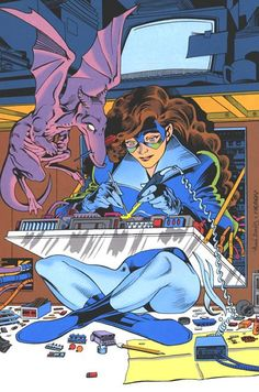 Kitty Pryde and Lockheed. This is why she's my favorite superhero. Kitty Pryde is such a geek!