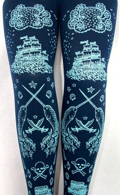 Pirate Narwhal Printed Tights Tattoos Small Blue on Navy Women Tattoo Sailor Octopus Squid Anchor Nautical Maritime Ocean. $25.65, via Etsy.