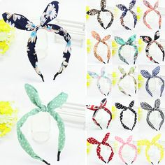 New Wide Ribbon Bowknot Headband Hairband Wire Bendy Bow Rabbit Bunny Ear #Unbranded