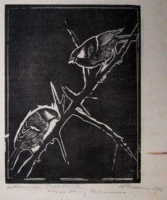 ✨  Walter Klemm, German (1883-1957) - Kohlmeisen, 1908, Holzschnitt, bezeichnet 'Probedruck, einziger Abzug, Platte vernichtet' ::: Great Tits, Woodcut, inscribed 'proof, sole print, board destroyed'