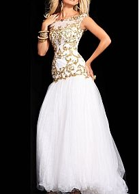 Glamorous Tulle & Satin Mermaid Bateau Neckline Drop Waist Floor Length Prom Dress With Embroidery and Beadings