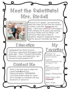 meet the substitute introduction handout teacher introduction letterletter