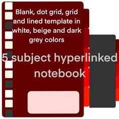 5 subject red orange notebook digital notebook 5 subject digital notebook for school notebook for work hiperlink notebook by Fdigitalstudio on Etsy School Notebooks, Dark Grey Color, Dots, Templates, Stickers, Orange, Digital, Red, Stitches