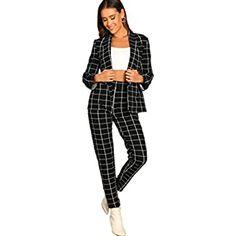 Amazon.com: UONBOX Women's Cut Out 2 Pieces Slim Fit Blazer Jacket Pants Suit Set (XS, Black2): Clothing Plaid Pants, Blazer Jacket, Jeans Pants, Leather Jacket, Suit Fashion, Fashion Outfits, Fashion 2020, Womens Fashion, Suits For Women