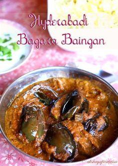 Hyderabadi Bagara Baingan is an eggplant recipe. Spicy Recipes, Curry Recipes, Vegetarian Recipes, Cooking Recipes, Veg Dishes, Vegetable Dishes, Vegetable Recipes, Indian Veg Recipes, Asian Recipes