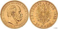 PREUSSEN, Wilhelm I., 20 Mark, Gold, 1883 A, winziger Randfehler, sehr schön.  Dealer HBA  Auction Minimum Bid: 190.00EUR