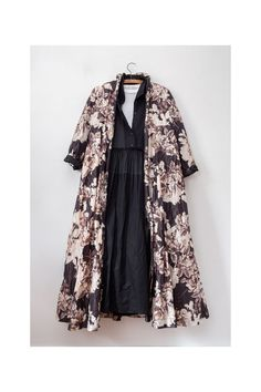 The Alexis coat is printed with a romantic grey and brown floral print that has an intriguing metallic sheen. The beauty of this coat lies in the details. It has a single button fastening, long fitted sleeves and a grosgrain ribbon at the back. Frou Frou, Brown Floral, Off Black, Black Button, Fitted Bodice, Grosgrain Ribbon, Black And Brown, Black White, A Line Skirts
