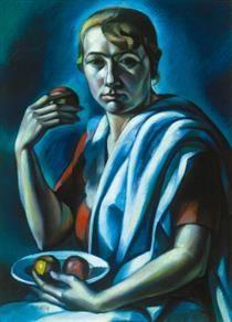 Mechanistic Cubism Woman Keeping an Apple, - Kmetty János Art Database, Cubism, Ale, Artwork, Painting, Fictional Characters, Woman, Instagram, Portraits
