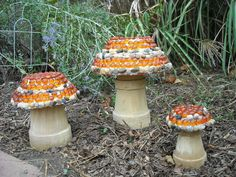 Mosaic Mushrooms w/ flower pots