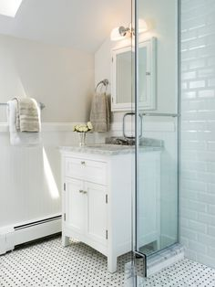Like this floor/vanity (not marble) for kid's bathroom    Basketweave Floor Tile Design, Pictures, Remodel, Decor and Ideas - page 4