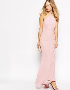 Pink halter maxi dresses