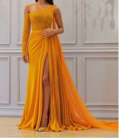 Fitted Prom Dresses, a line yellow one long sleeve chiffon prom dresses high slit formal dresses uk Bey Love Formal Dresses Uk, Fitted Prom Dresses, Prom Dresses Long With Sleeves, Gala Dresses, Long Sleeve Formal Dress, Chiffon Dresses, Yellow Formal Dress, Long Prom Gowns, A Line Dress Formal