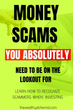 Learning how to recognize and avoid scammers when investing is essential to protect your money. Check out this post to know about the most ten common money scams when investing, and how you can avoid becoming a victim of money scammers. Make More Money, Ways To Save Money, Money Saving Tips, Money Safe, Wealth Quotes, Are You Serious, Budgeting Tips, Finance Tips, Money Management