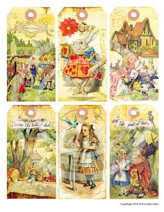 for sale on Etsy  Vintage Shabby Alice in Wonderland Bunnies Tea Birthday party Children illustration book Cards Tags Digital Collage Sheet Images Sh011