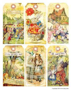 Alicia Shabby vintage en el libro de las maravillas conejitos té cumpleaños partido niños ilustración tarjetas etiquetas Digital Collage hoja imágenes Sh011