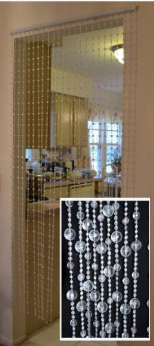 Hanging beaded door curtains dividers crystal white - Hanging beads for doorways ...