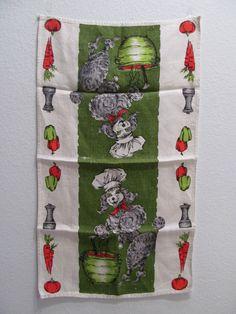 Vintage 50's 60's Standard Poodle Dog Chef Kitchen Kitsch Linen Tea Hand Towel