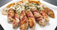 """750g vous propose la recette """"Allumettes au poulet et lard fumé sauce au Gorgonzola"""" notée 4.3/5 par 26 votants."""