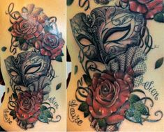 Artist: Inkhouse Tattoo This romantic black and white mask tattoo features bright pops of color in the form of blood-red roses. Delicate lace and swirl details accentuate this lovely depiction of a Venetian Colombina mask.