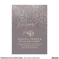 PixDezines Rose Gold Confetti Engagement Party Card