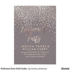 PixDezines Rose Gold Confetti Engagement Party Card