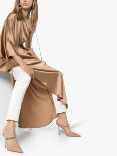 Shop Jimmy Choo pink Bing 100 leather mules from our Mules collection. Leather Mules, Calf Leather, Browning Logo, Brown Fashion, Designer Shoes, Jimmy Choo, Duster Coat, My Style, Pink