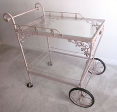 Vintage 'Shabby Chic' Shell Pink Woodard Wrought Iron and Glass Tea Cart - Original Paint found on Ruby Lane Wrought Iron Garden Furniture, Vintage Patio Furniture, Patio Furniture Makeover, Iron Patio Furniture, Refurbished Furniture, Shabby Chic Furniture, Shabby Chic Veranda, Shabby Chic Porch, Shabby Chic Kitchen