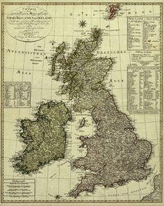British Isles 1801 map, Historical, vintage, antique map. Created I.G.L. Weidner, included in the Antique Historical Map Collection